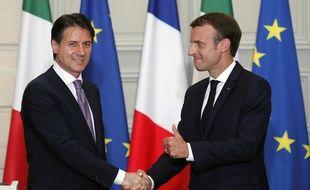 Giuseppe Conte et Emmanuel Macron ont donné une conférence de presse commune à l'Elysée, le 15 juin 2018.