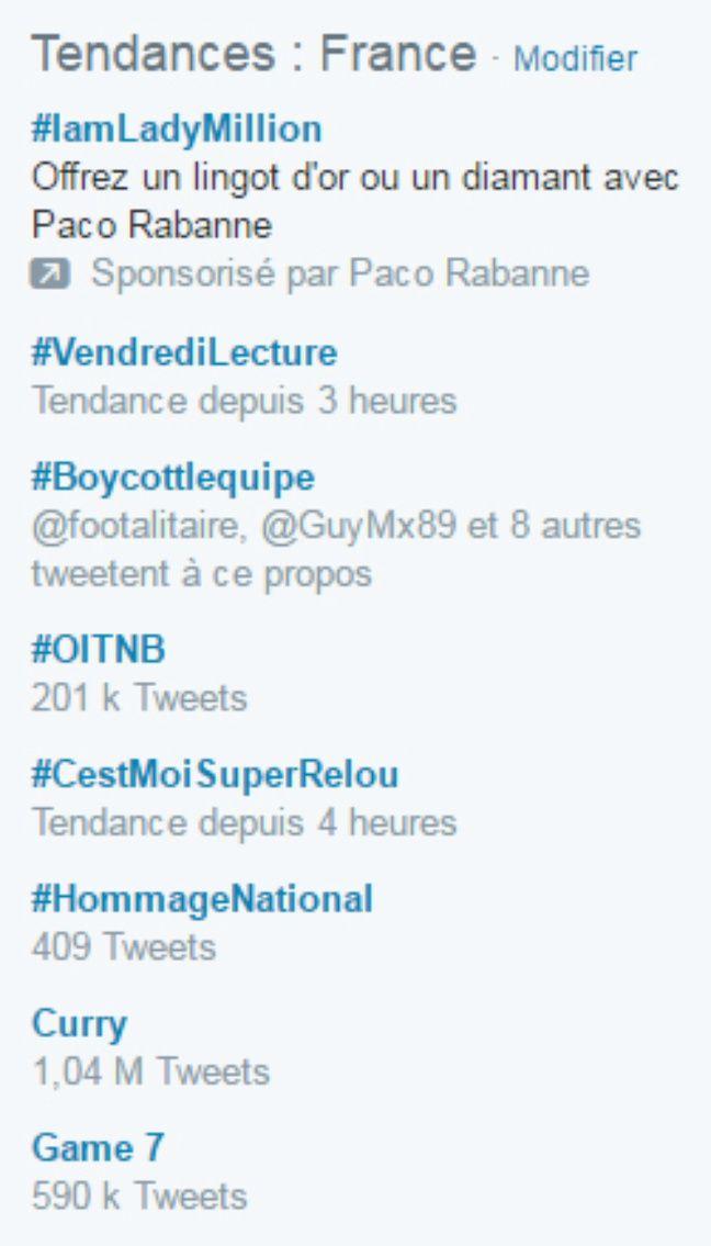 Capture d'écran des tendances Twitter du 17 juin.