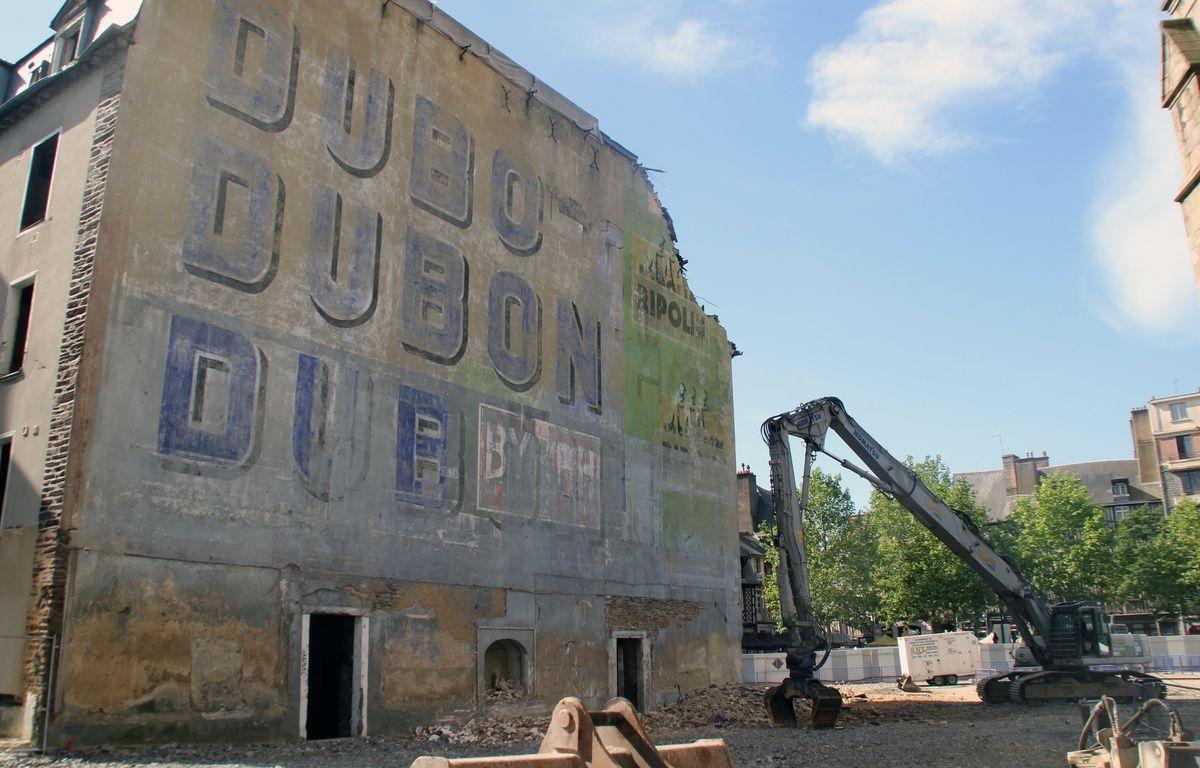Le mur Dubonnet, place Sainte-Anne, à Rennes, a été démoli en 2014. – C. Allain / APEI / 20 Minutes