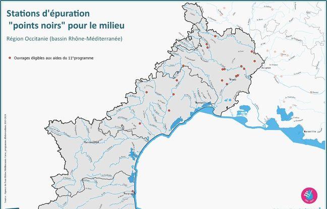 22 stations d'épuration considérés comme des points noirs en Languedoc et Roussillon.