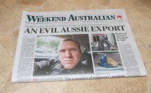 Le suspect des attentats de Christchurch, Brenton Tarrant, à la une d'un journal australien le 16 mars 2019.