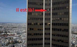 Alexis Landot lors de l'ascension de la Tour Montparnasse