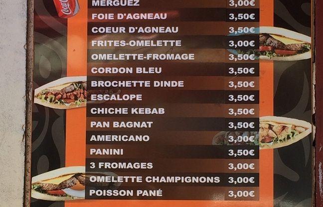La carte d'un kebab de Marseille, où les prix permettent aux plus modestes de venir manger.