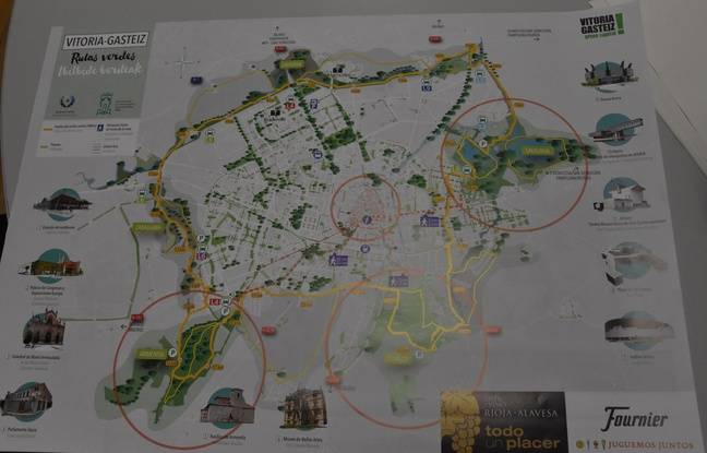 Plan de l'anneau vert, qui encercle la ville de Vitoria-Gasteiz et propose une promenade de 37 km.