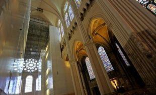 La cathédrale de Chartres lors des travaux de restauration le 15 septembre 2015