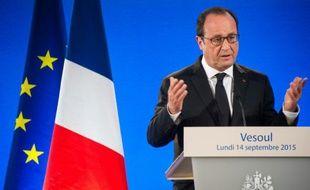 Le président François Hollande lors d'une conférence de presse à Vesoul, le 14 septembre 2015