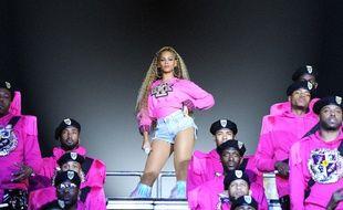 Beyoncé sur la scène du festival de Coachella (Californie) en avril 2018.