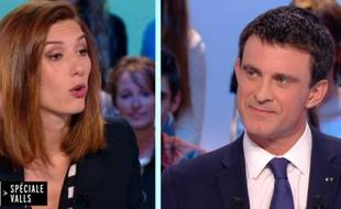 Doria Tillier et Manuel Valls sur le plateau du «Grand Journal» de Canal+ le 16 mars 2015.