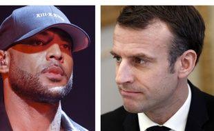 Collage 20 Minutes SIPA de Booba et Emmanuel Macron, président de la République le 10 décembre 2018