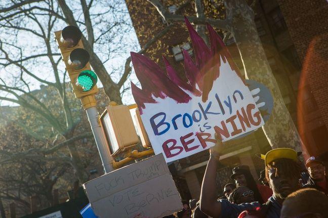 Une pancarte d'un supporter de Bernie Sanders à New York.