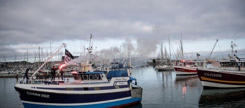 Lors de la manifestation des pêcheurs à Cherbourg, le 25 septembre.