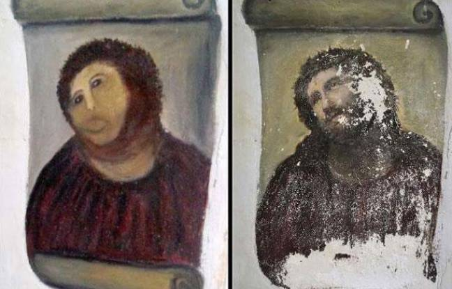 La version restaurée et la version originale du «Ecce Homo» du peintre espagnol Elias Garcia Marquez.