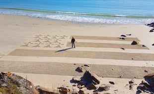 La fresque a été réalisée dimanche sur la plage de Ty Bihan à Carnac.