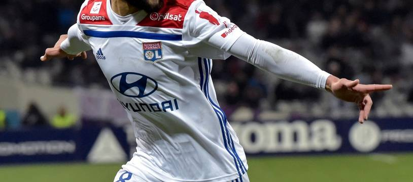 Nabil Fekir après avoir égalisé pour l'OL au Stadium de Toulouse, le 16 janvier 2019.