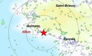 L'épicentre a été localisé près de Bénodet.