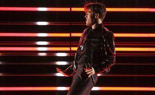 Le Suédois Benjamin Ingrosso lors de sa première répétition sur la scène de l'Eurovision à Lisbonne, le 2 mai 2018.