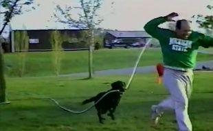 Un chien arrose son maître.