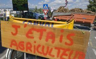 Des éleveurs bloquent un axe routier à Clermont-Ferrand (Puy-de-Dome), le 23 juillet 2015.