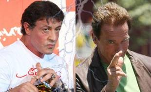 A gauche, Sylvester Stallone. A droite, Arnold Schwarzenegger