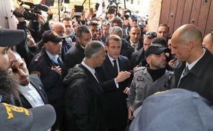 Emmanuel Macron, le 22 janvier 2020 dans la vieille ville de Jérusalem (Israël).