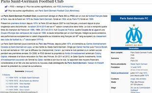 Capture d'écran du wikipedia du PSG, le 4 novembre 2014