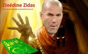 Zinédine Zidane + le Roi Midas = Zinédine Zidas.