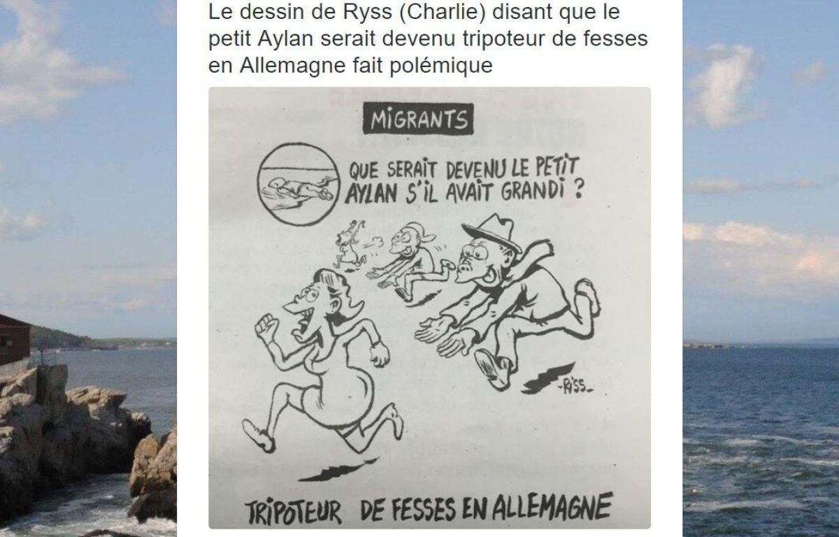 Capture d'écran d'un post Twitter montrant le dessin de «Charlie Hebdo» mettant en scène Aylan Kurdi. – Twitter/Gilles Klein
