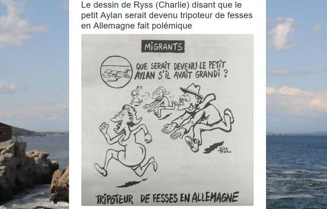 Capture d'écran d'un post Twitter montrant le dessin de «Charlie Hebdo» mettant en scène Aylan Kurdi.