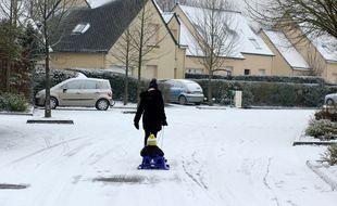 Illustration de la neige tombée en Bretagne. Ici en 2018.