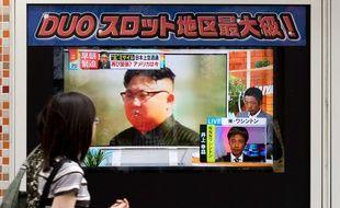 Un écran de télévision montre Kim Jong-un, le leader nord-coréen, le 29 août 2017. DELETREE