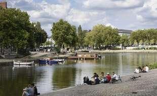 Vue de l'Erdre, en centre-ville de Nantes, en 2017