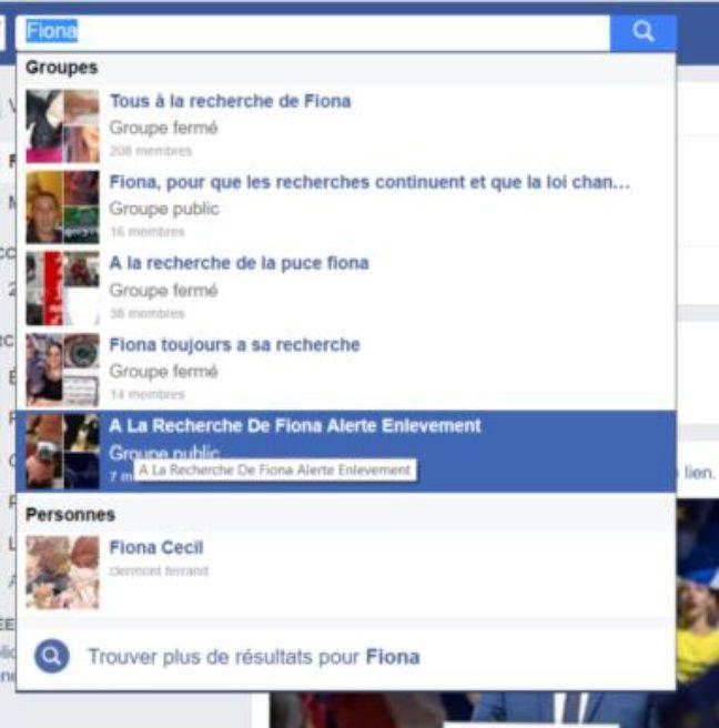 Liste de quelques groupes Facebook consacrés à la disparition de Fiona.