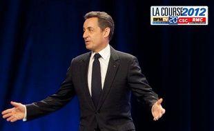 Permier meeting officiel de Nicolas Sarkozy qui lance sa campagne présidentielle au parc chanot de Marseille, le 19 février 2012.