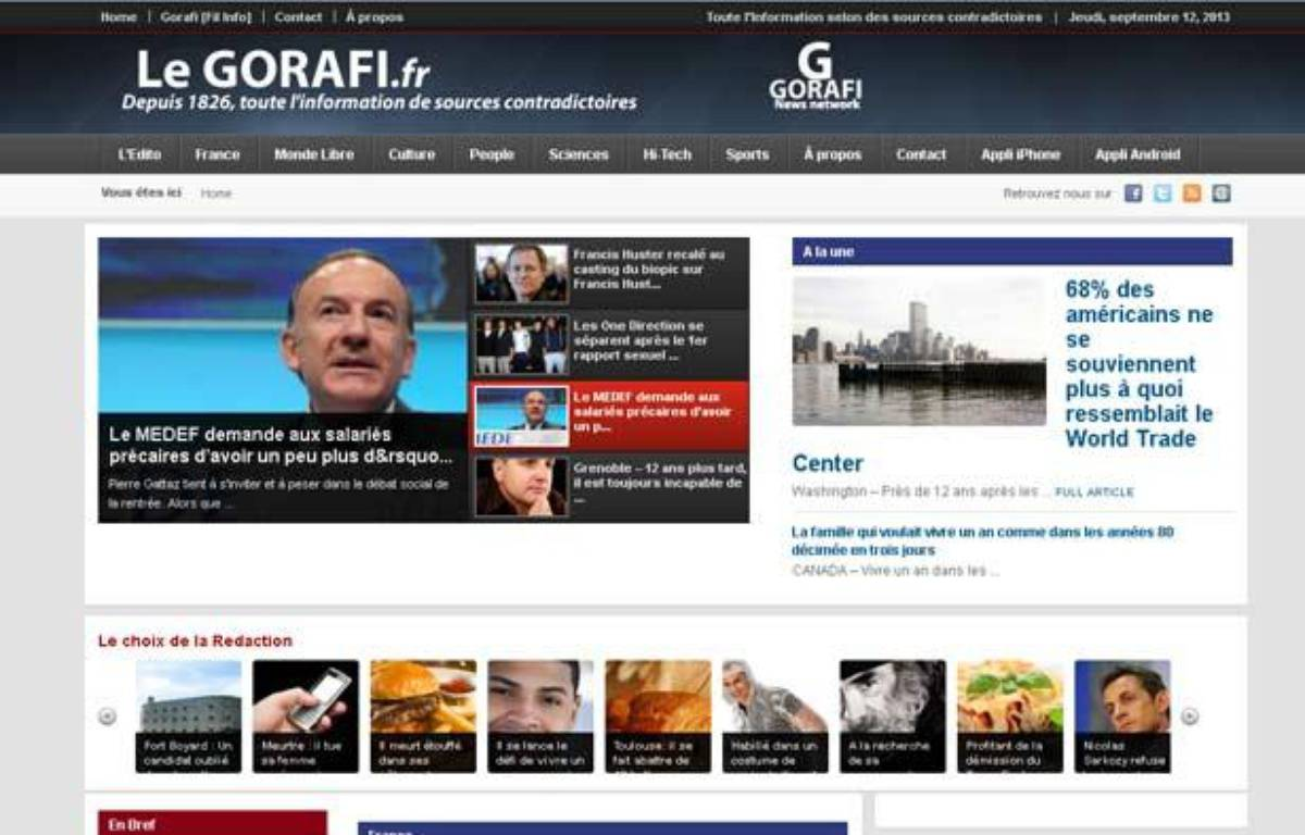 Capture d'écran du site du Gorafi, le 12 septembre 2013. – 20 MINUTES