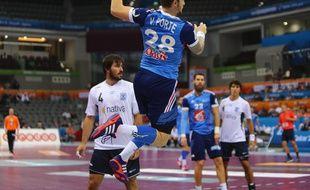 Valentin Porte a réalisé l'un de ses meilleurs matchs avec les Bleus lors de la victoire contre l'Argentine (33-20) en huitièmes de finale du Mondial de handball, le 26 janvier 2015.
