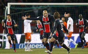 Alex après son but face à Montpellier, le 19 février 2012