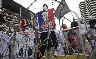 Des Indonésiens protestent contre Emmanuel Macron (illustration).