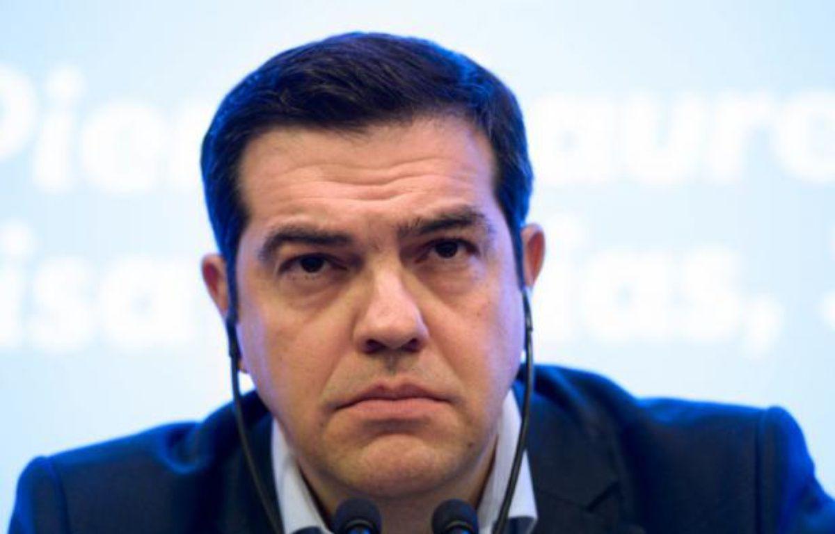 Le Premier ministre grec Alexis Tsipras lors d'une conférence de presse, le 11 mars 2016 à Paris – BERTRAND GUAY AFP