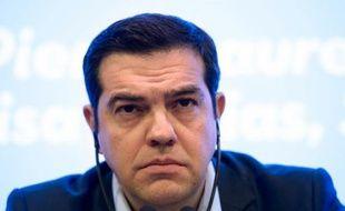 Le Premier ministre grec Alexis Tsipras lors d'une conférence de presse, le 11 mars 2016 à Paris