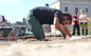 Le chantier de fouilles de l'Hôtel Dieu à Rennes, où les archéologues ont trouvé des traces de civilisation du Ier siècle.