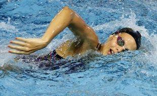 Dunkerque, le 22 mars 2012. 5ème jour des Championnats de France de natation en grand bassin à la piscine Paul Asseman. Ici Laure Manaudou à l'échauffement.