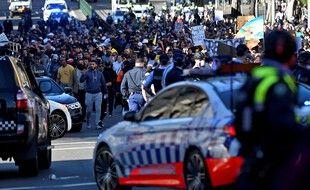 Manifestation contre les mesures confinement à Sydney en Australie le 24 juillet 2021.