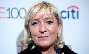 Marine Le Pen, présidente du FN, le 21 avril 2015 à New York, aux Etats-Unis.