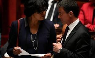 Myriam El Khomri et Manuel Valls à l'Assemblée nationale le 11 mai 2016