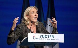 Marine Le Pen lors de son discours à l'université d'été du FN le 15 septembre 2013 à Marseille.