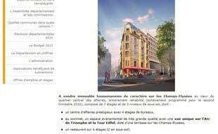 Une annonce immobilière pour vendre la Maison de l'Alsace à Paris est parue dans «Le Figaro» le 21 octobre 2015.