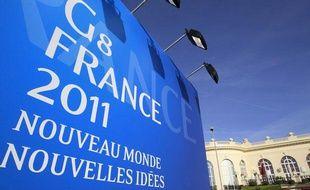 Un panneau pour le sommet du G8 à Deauville le 22 mai 2011.