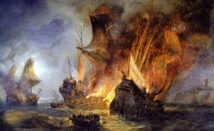 Toile du combat de «La Cordelière» contre la flotte anglais, peinte par Pierre-Julien Gilbert.