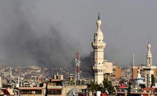 La ville de Damas, enSyrie, a été le théâtre d'un attentat à la bombe contre un bâtiment de la Sécurité nationale, le 18 juillet 2012.