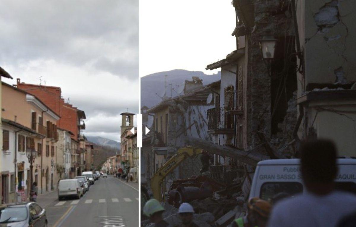 Amatrice, avant et après le séisme, le 24 août 2016. – Google street view / SIPA